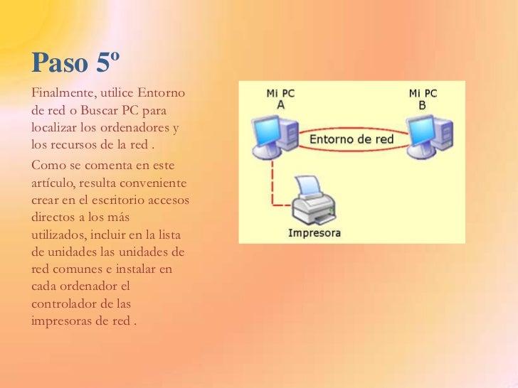 Paso 5º<br />Finalmente, utilice Entorno de red o Buscar PC para localizar los ordenadores y los recursos de la red .<br /...