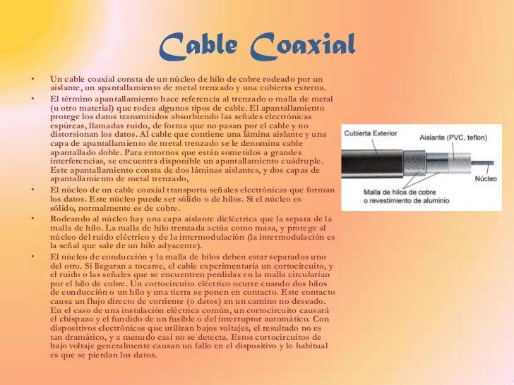 Cable Coaxial<br />Un cable coaxial consta de un núcleo de hilo de cobre rodeado por un aislante, un apantallamiento de me...