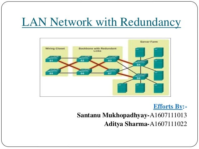 lan network with redundancy efforts by santanu mukhopadhyay a1607111013 aditya sharma a1607111022