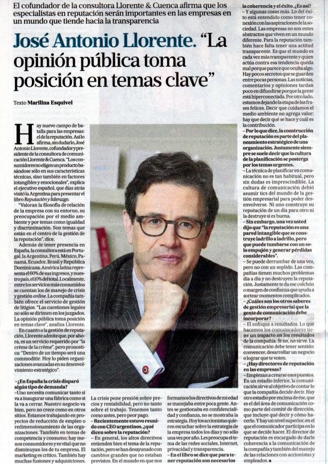 Entrevista a José Antonio Llorente en La Nación
