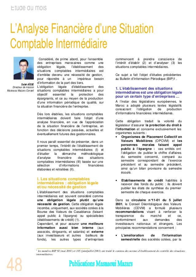 Etude du mois  L'Analyse Financière d'une Situation  Comptable Intermédiaire                                Considéré, de ...