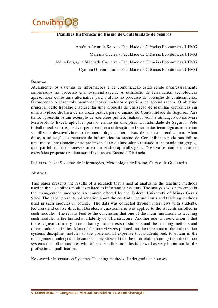 Planilhas Eletrônicas no Ensino de Contabilidade de Seguros                           Antônio Artur de Souza - Faculdade d...
