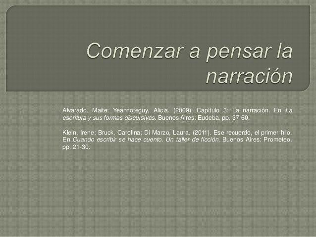Alvarado, Maite; Yeannoteguy, Alicia. (2009). Capítulo 3: La narración. En La escritura y sus formas discursivas. Buenos A...