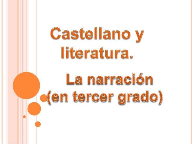 CONTENIDOS: Características de la narración. Personajes y lugares de la narración. Partes de la narración.
