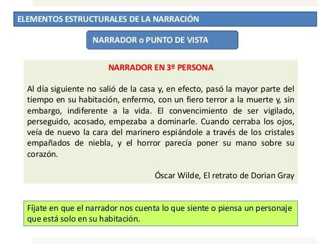 ELEMENTOS ESTRUCTURALES DE LA NARRACIÓN NARRADOR o PUNTO DE VISTA NARRADOR EN 3º PERSONA Al día siguiente no salió de la c...