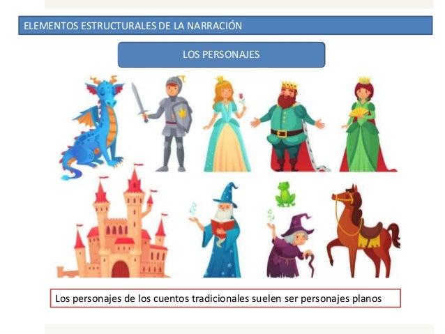 ELEMENTOS ESTRUCTURALES DE LA NARRACIÓN LOS PERSONAJES Los personajes de los cuentos tradicionales suelen ser personajes p...