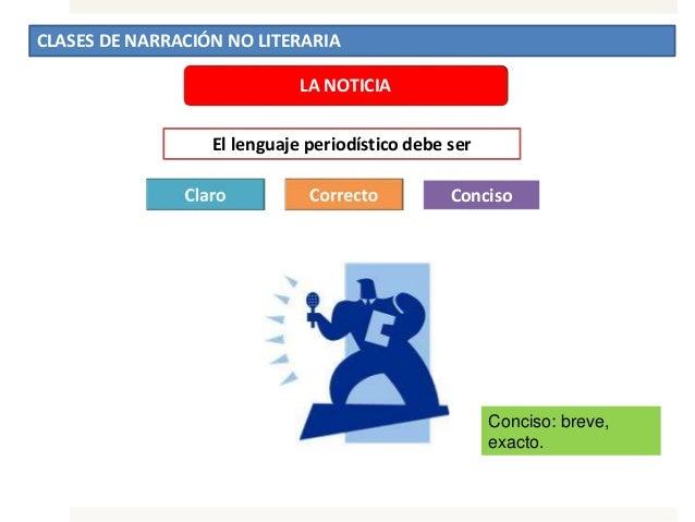 CLASES DE NARRACIÓN NO LITERARIA LA NOTICIA El lenguaje periodístico debe ser Conciso Conciso: breve, exacto.