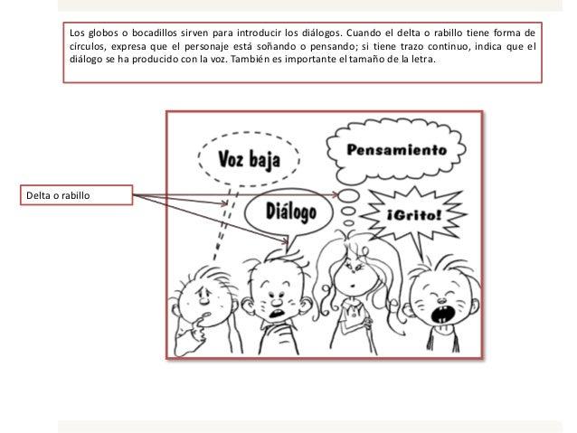 Los globos o bocadillos sirven para introducir los diálogos. Cuando el delta o rabillo tiene forma de círculos, expresa qu...