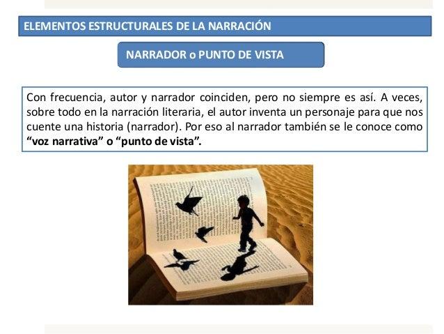 ELEMENTOS ESTRUCTURALES DE LA NARRACIÓN NARRADOR o PUNTO DE VISTA Con frecuencia, autor y narrador coinciden, pero no siem...