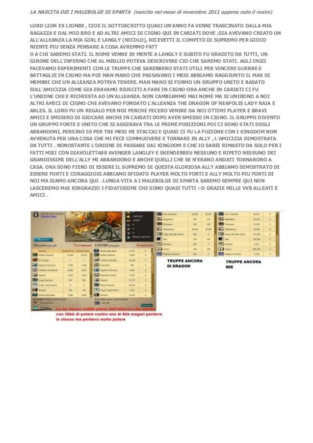 LA NASCITA DEI I MALEBOLGE DI SPARTA (nascita nel mese di novembre 2011 appena nato il realm)LORD LION EX LION88 , CIOE IL...