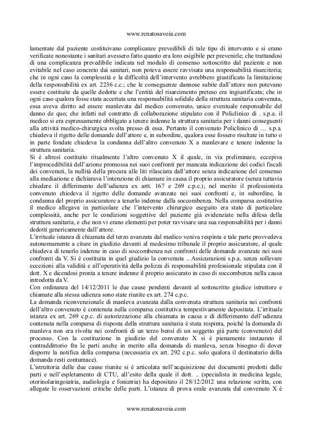 La natura della responsabilità del medico e della struttura sanitaria   trib mi  17.07.14 Slide 3