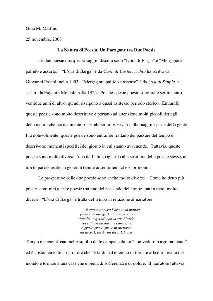 Gina M. Martino25 novembre, 2008                  La Natura di Poesia: Un Paragone tra Due Poesie       Le due poesie che ...
