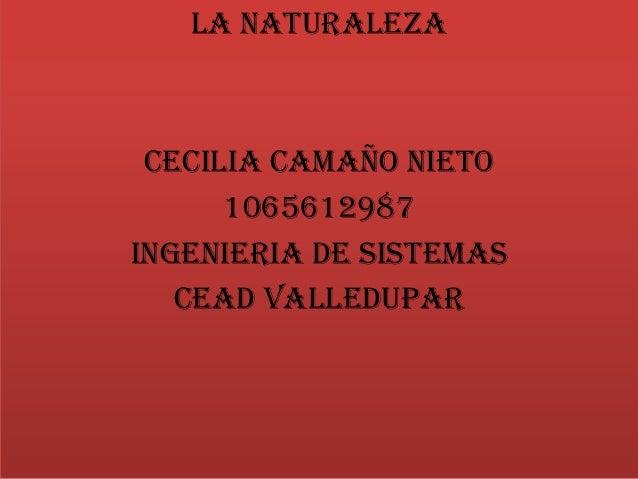 LA NATURALEZACECILIA CAMAÑO NIETO1065612987INGENIERIA DE SISTEMASCEAD VALLEDUPAR