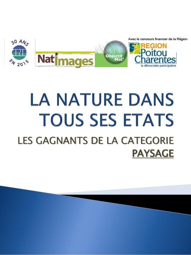 LES GAGNANTS DE LA CATEGORIE PAYSAGE