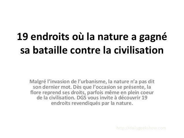 19 endroits où la nature a gagné sa bataille contre la civilisation Malgré l'invasion de l'urbanisme, la nature n'a pas di...