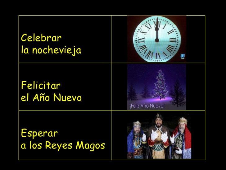 Celebrar la nochevieja Felicitar el Año Nuevo Esperar  a los Reyes Magos