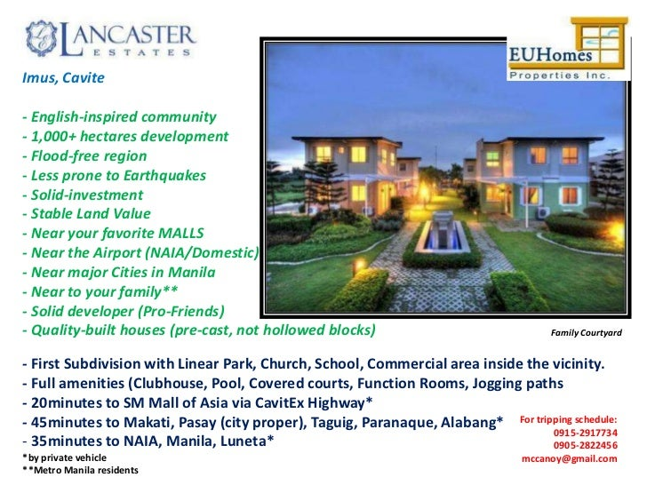 Imus, Cavite- English-inspired community- 1,000+ hectares development- Flood-free region- Less prone to Earthquakes- Solid...