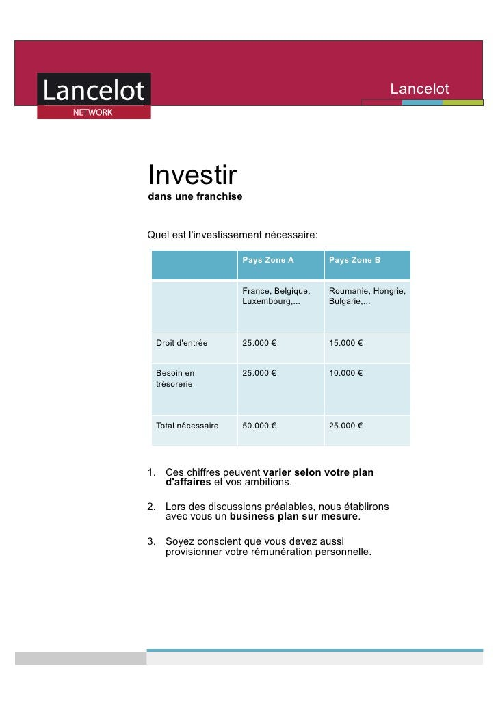 Lancelot                                                        Network    Investir dans une franchise   Quel est l'invest...