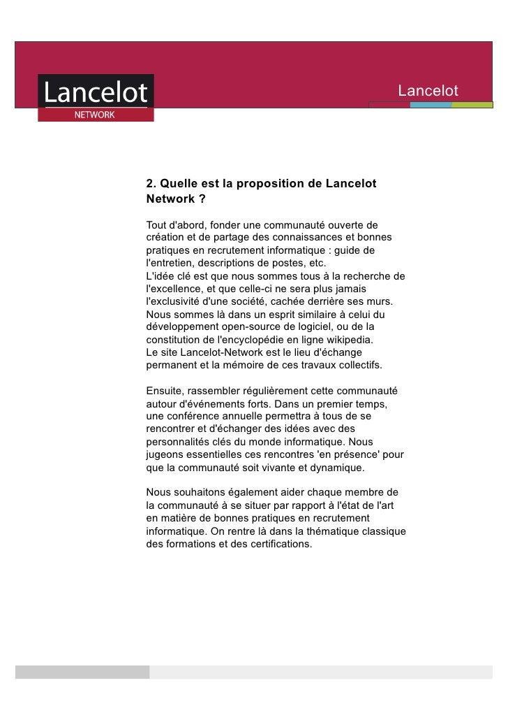 Lancelot                                                      Network    2. Quelle est la proposition de Lancelot Network ...