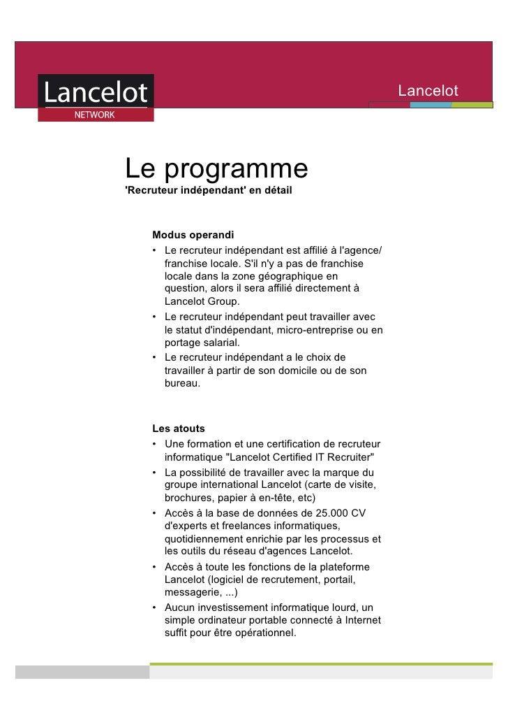 Lancelot                                                            Network   Le programme 'Recruteur indépendant' en déta...