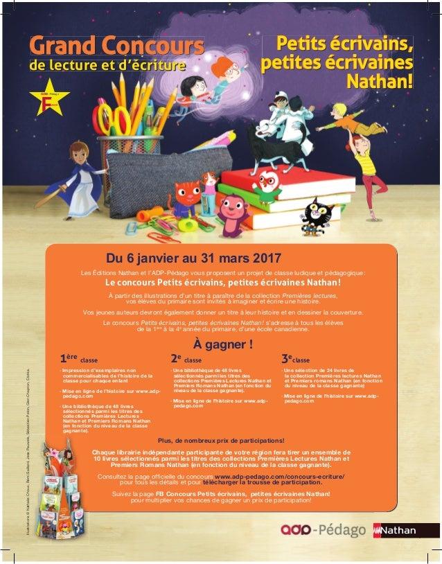 Grand Concours Petits écrivains, petites écrivaines Nathan! de lecture et d'écriture Illustrations©NathalieChoux,RémiSaill...