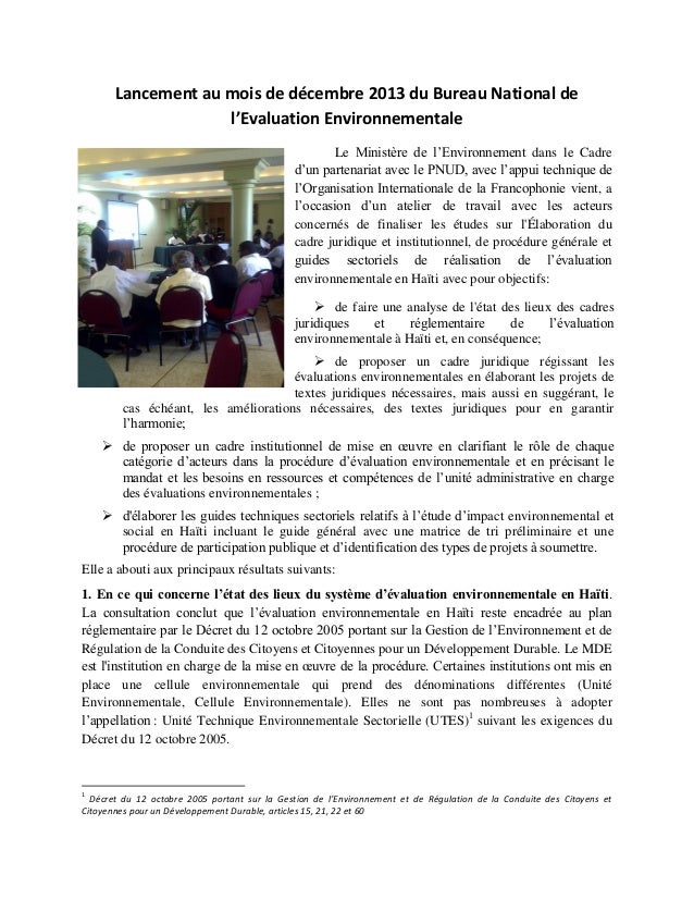 Lancement au mois de décembre 2013 du Bureau National de l'Evaluation Environnementale Le Ministère de l'Environnement dan...