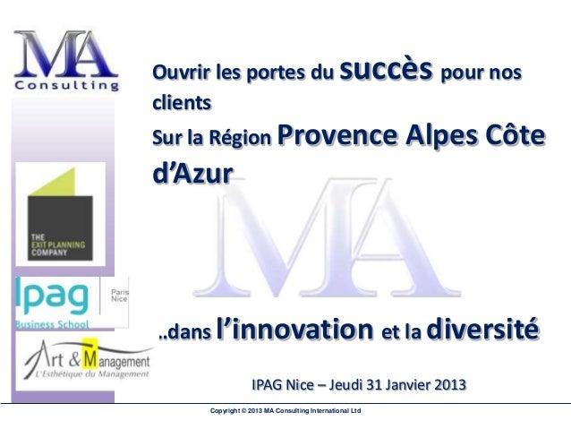 Ouvrir les portes du succès pour nosclientsSur la Région Provence                                  Alpes Côted'Azur…dans l...