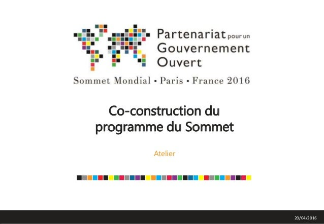 Co-construction du programme du Sommet Atelier 20/04/2016