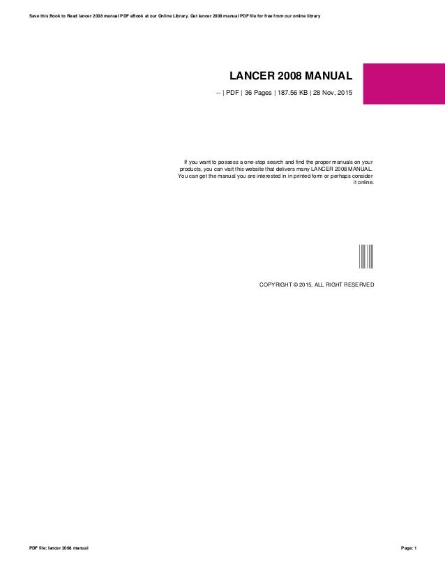 Lancer es manual 2008 ebook array lancer 2008 manual rh slideshare net fandeluxe Choice Image