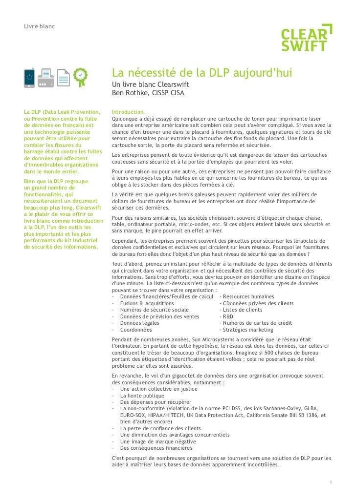 Livre blanc                                   La nécessité de la DLP aujourd'hui                                   Un livr...
