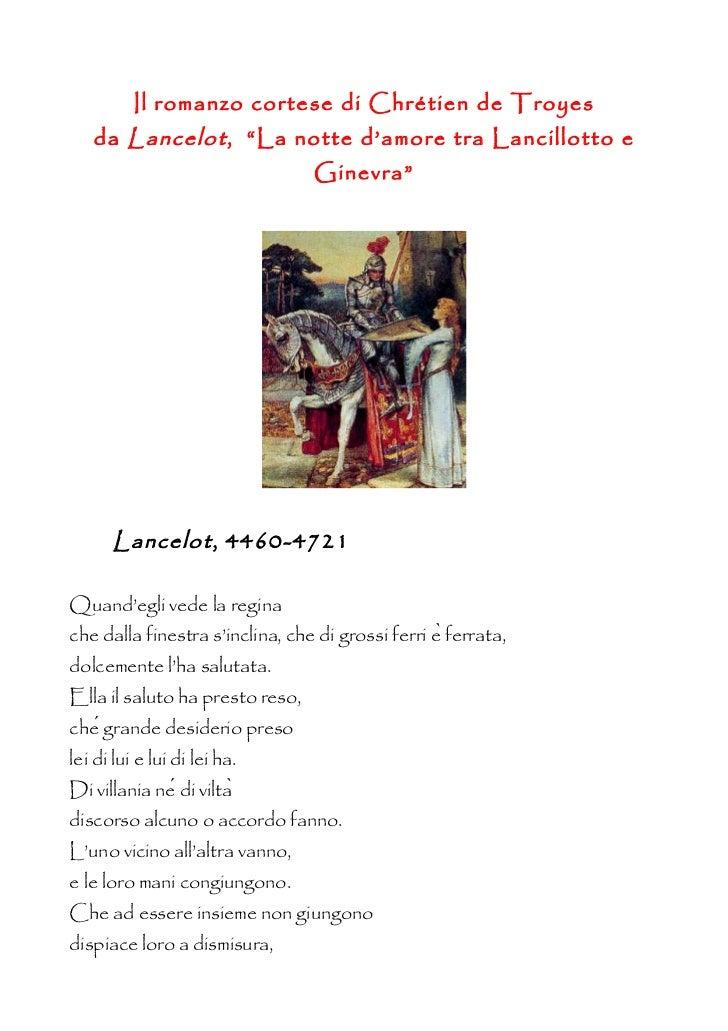 """Il romanzo cortese di Chrétien de Troyes   da Lancelot , """"La notte d'amore tra Lancillotto e                              ..."""