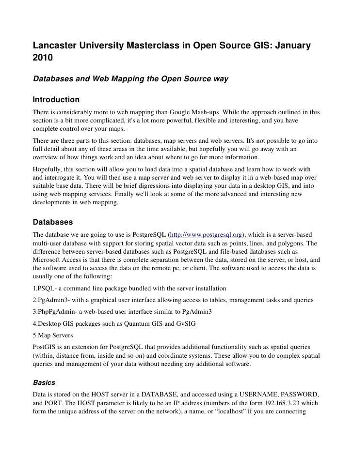 LancasterUniversityMasterclassinOpenSourceGIS:January 2010  DatabasesandWebMappingtheOpenSourceway  Introdu...