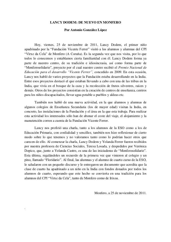 LANCY DODEM: DE NUEVO EN MONFERO                             Por Antonio González López        Hoy, viernes, 25 de noviemb...