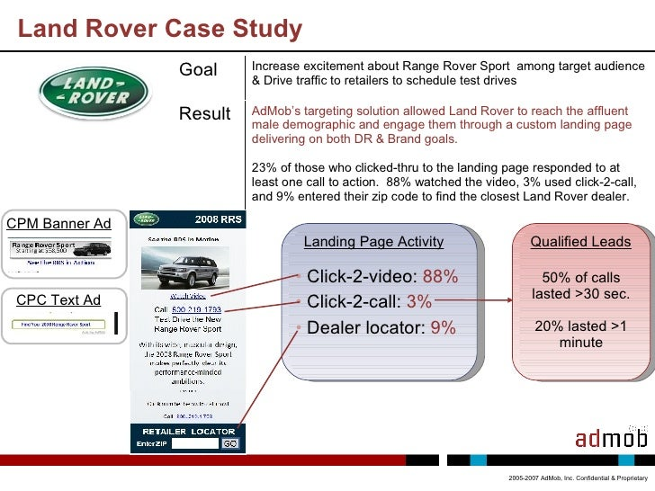 Land Rover Case Study 2005-2007 AdMob, Inc. Confidential & Proprietary <ul><li>Click-2-video:  88% </li></ul><ul><li>Click...