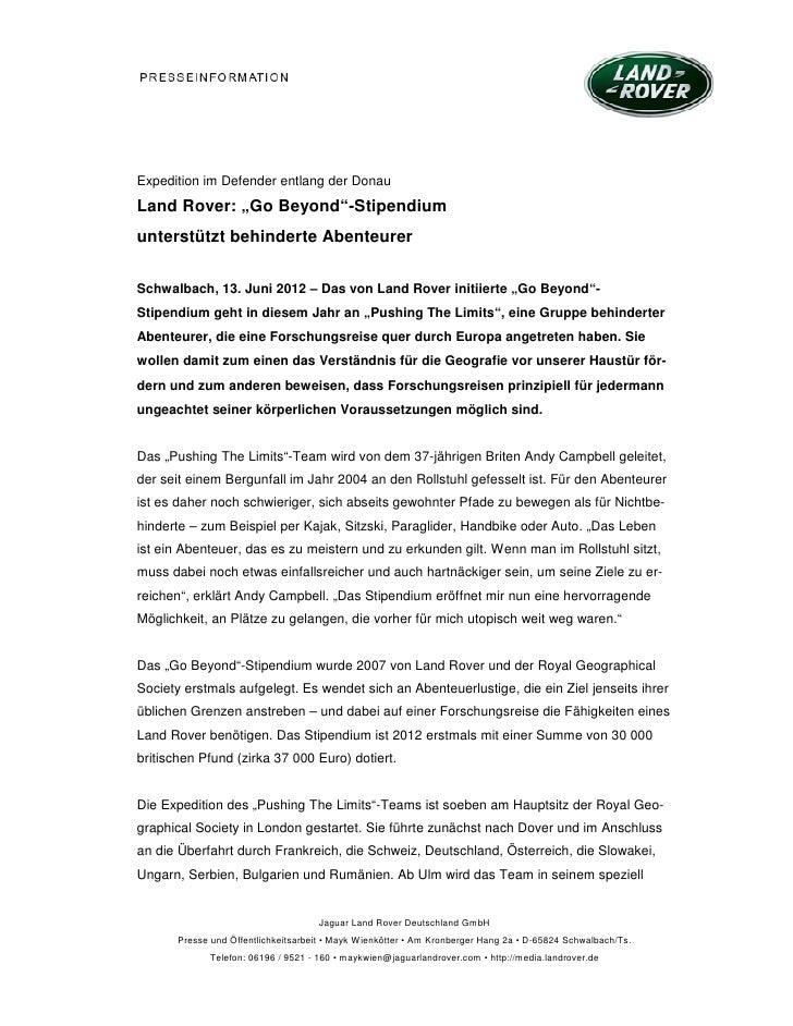"""Expedition im Defender entlang der DonauLand Rover: """"Go Beyond""""-Stipendiumunterstützt behinderte AbenteurerSchwalbach, 13...."""