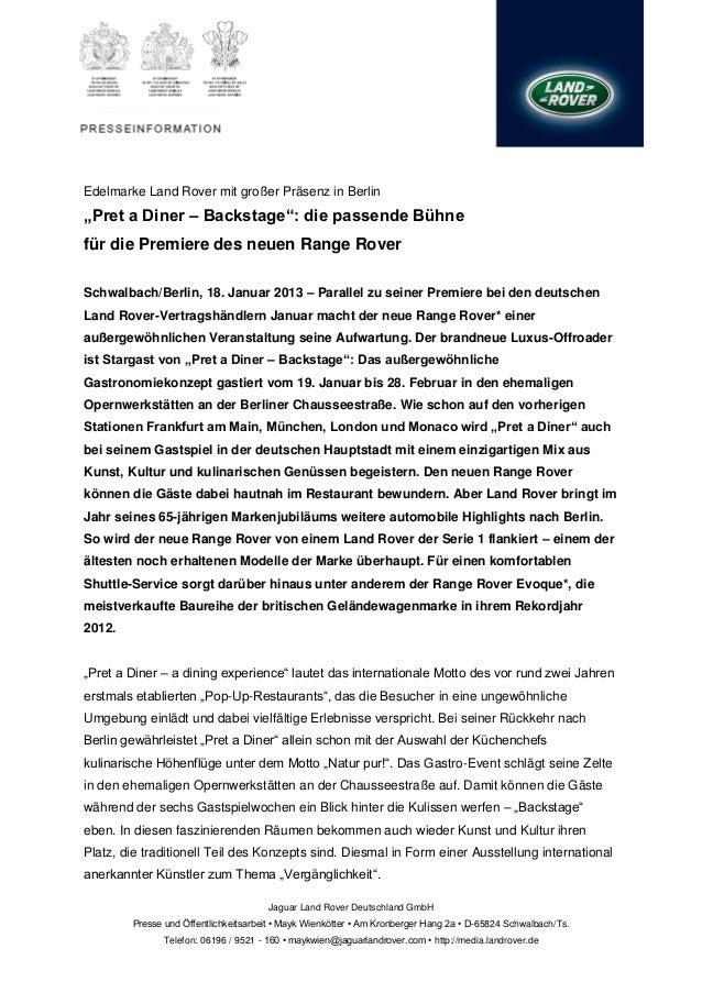 """Edelmarke Land Rover mit großer Präsenz in Berlin""""Pret a Diner – Backstage"""": die passende Bühnefür die Premiere des neuen ..."""