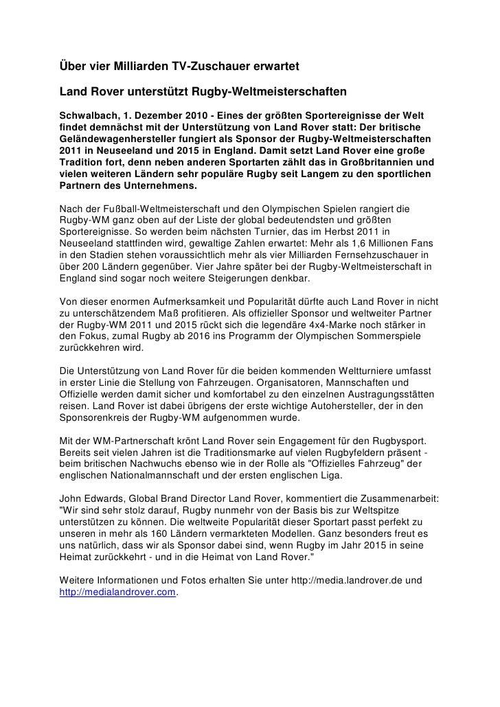 Über vier Milliarden TV-Zuschauer erwartetLand Rover unterstützt Rugby-WeltmeisterschaftenSchwalbach, 1. Dezember 2010 - E...