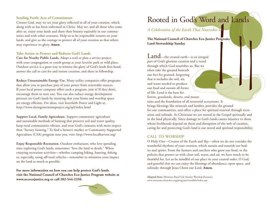 Sending Forth: Acts of CommitmentCreator God, may we see your glory reflected in all of your creation, which      Rooted in...