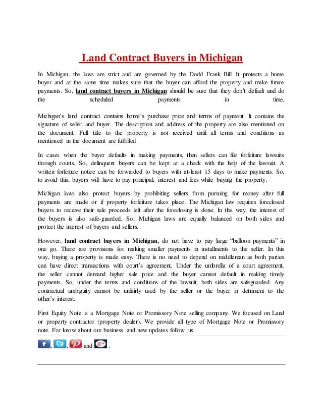 Land contract buyers in michigan