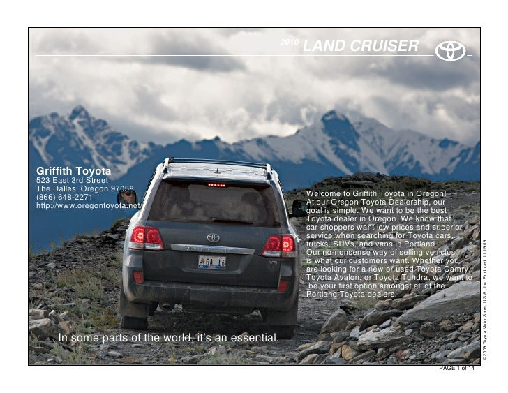 2010                                                              LAND CRUISER     Griffith Toyota 523 East 3rd Street The...