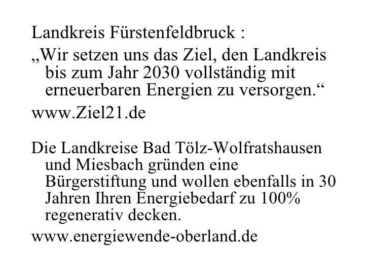 """Landkreis Fürstenfeldbruck : """"Wir setzen uns das Ziel, den Landkreis  bis zum Jahr 2030 vollständig mit  erneuerbaren Ener..."""