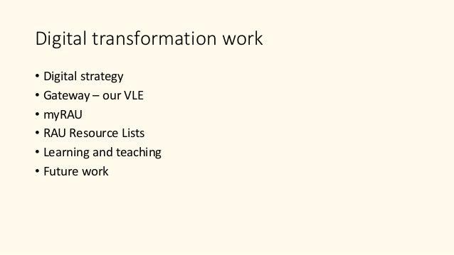Digital transformation at RAU Slide 2
