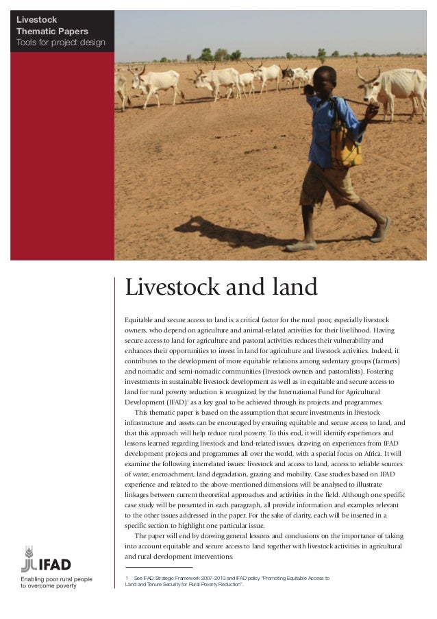 LivestockThematic PapersTools for project design                           Livestock and land                           Eq...