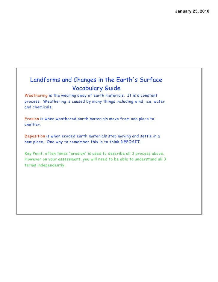 January 25, 2010       Landforms and Changes in the Earth's Surface                Vocabulary Guide Weathering is the wear...