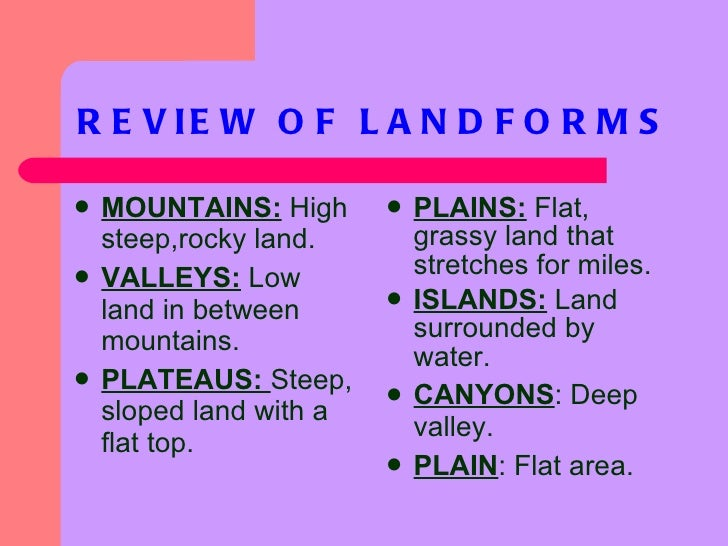 Landforms ppt 13 review of landforms sciox Image collections