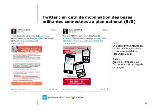 1112/06/13 21:58Twitter : un outil de mobilisation des basesmilitantes connectées au plan national (5/5)Mais :Une agressiv...