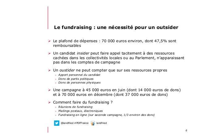 612/06/13 21:58Le fundraising : une nécessité pour un outsider Le plafond de dépenses : 70 000 euros environ, dont 47,5%...