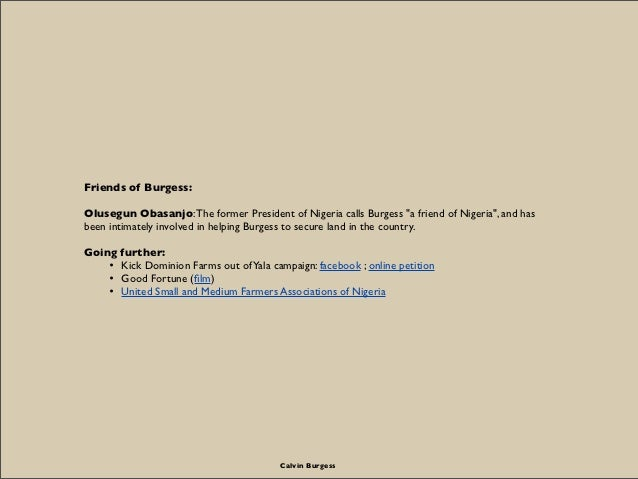 """Friends of Burgess:Olusegun Obasanjo: The former President of Nigeria calls Burgess """"a friend of Nigeria"""", and hasbeen int..."""