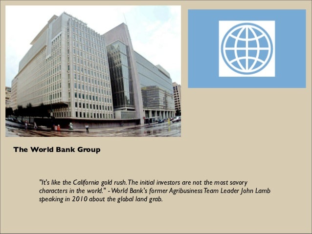 """The World Bank Group     """"Its like the California gold rush. The initial investors are not the most savory     characters ..."""