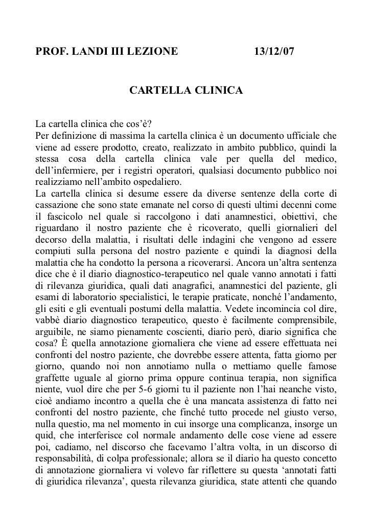 PROF. LANDI III LEZIONE                                 13/12/07                        CARTELLA CLINICALa cartella clinic...